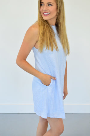 Baby Blue Halter Dress - MOB Fashion Boutique