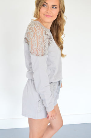 Fall Lace Romper - MOB Fashion Boutique
