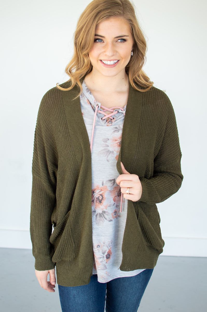 Knit Grandma Cardi | Olive - MOB Fashion Boutique