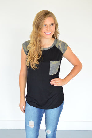 Pop of Camo Tee - MOB Fashion Boutique