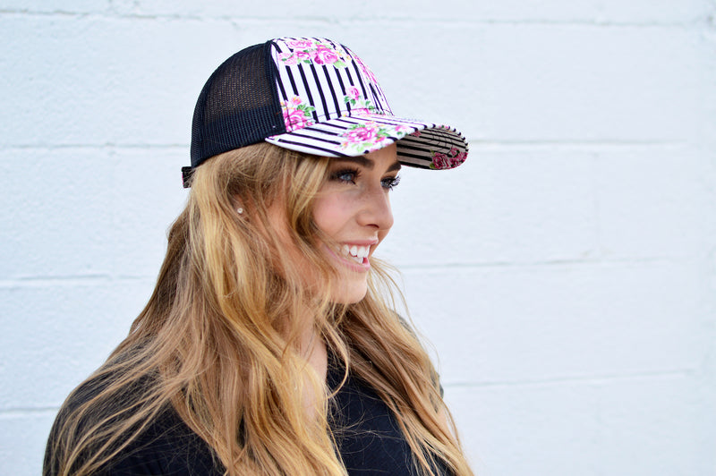 C.C. Striped Floral Trucker - MOB Fashion Boutique