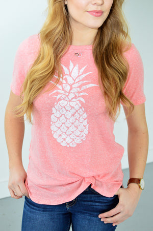 Pineapple Tee | Coral - MOB Fashion Boutique