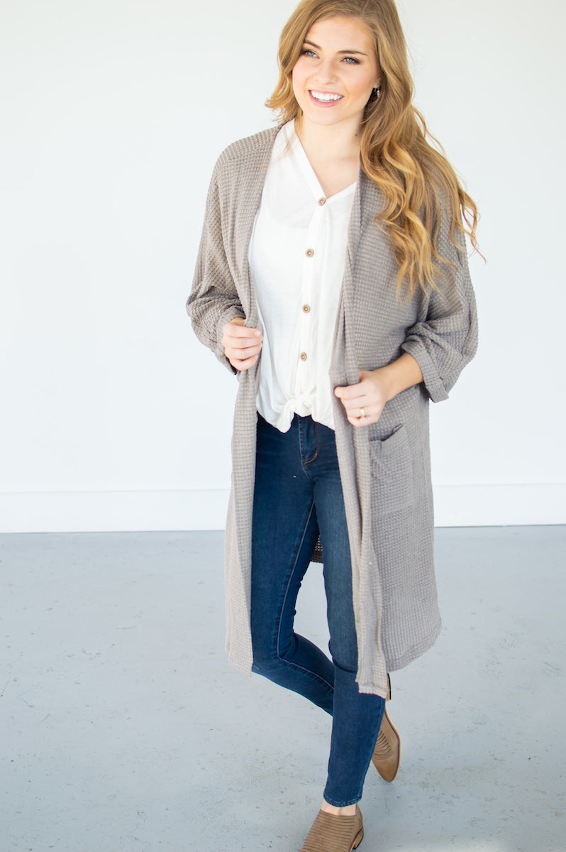 Waffle Knit Hobo Cardi | Latte - MOB Fashion Boutique
