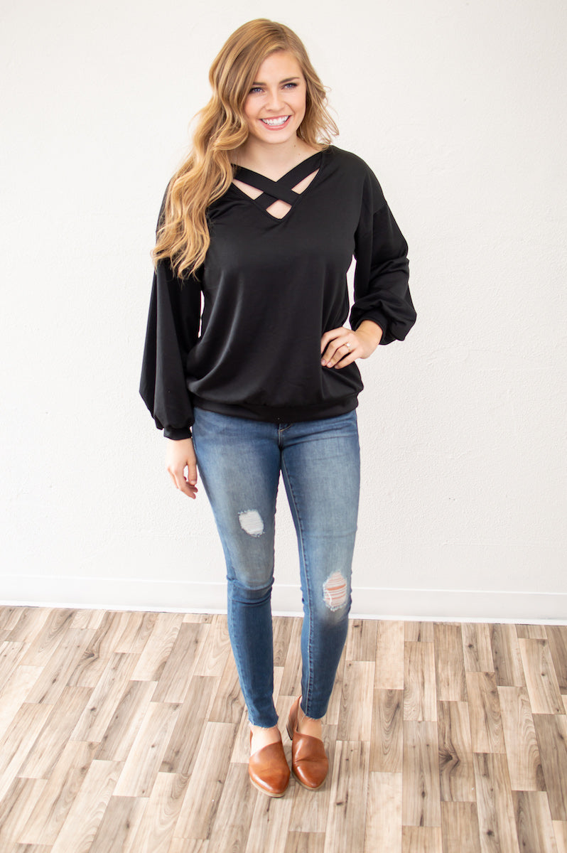 Criss Cross Bubble Sleeve Top | Black - MOB Fashion Boutique