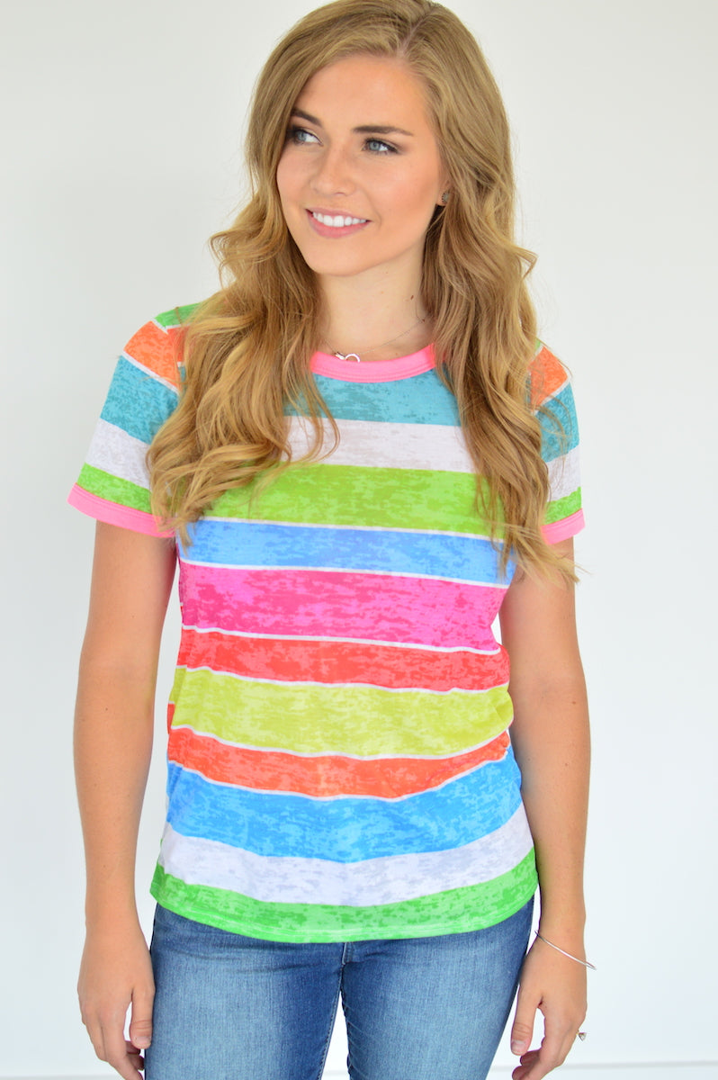 Rainbow Stripes Tee - MOB Fashion Boutique