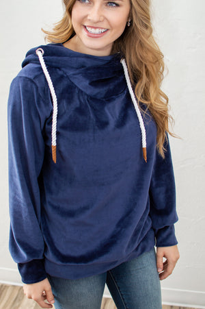Velour Cowl Hoodie | Navy - MOB Fashion Boutique