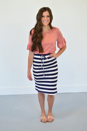 Set Sail Skirt | Navy Stripes - MOB Fashion Boutique