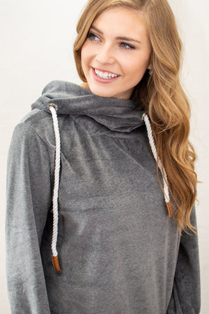 Velour Cowl Hoodie | Charcoal - MOB Fashion Boutique