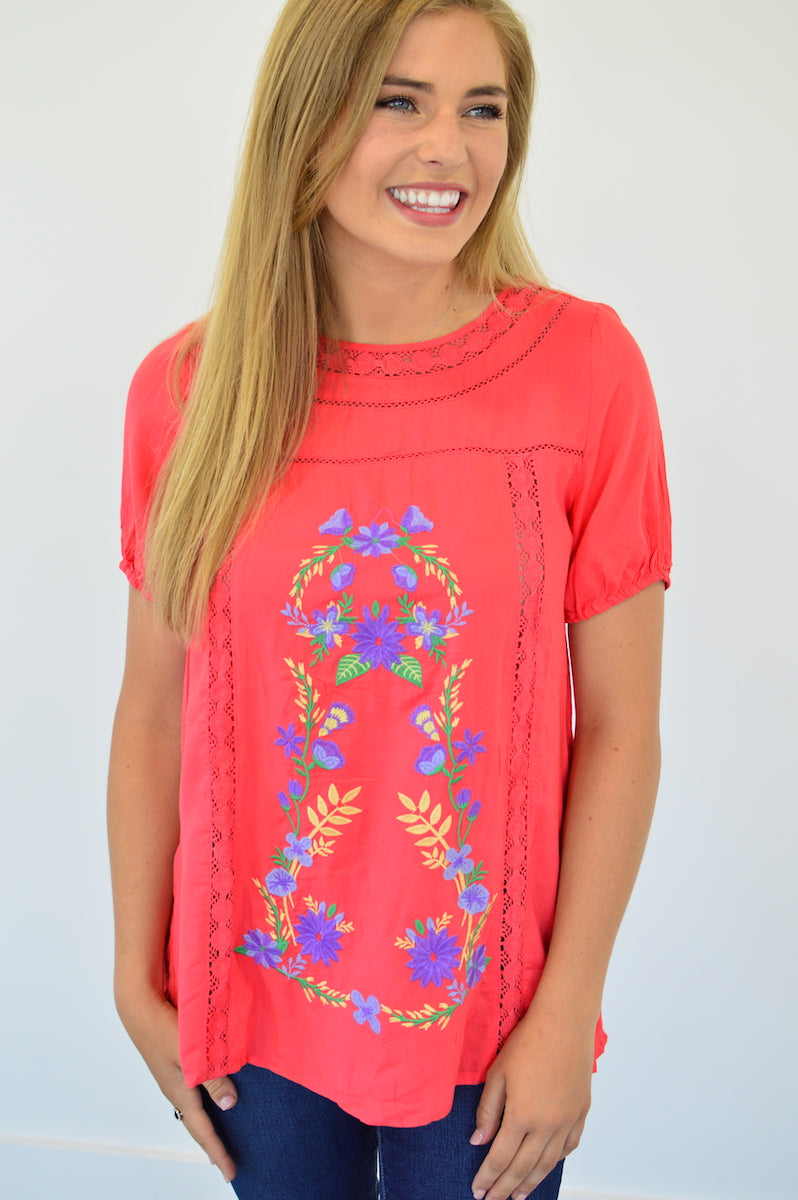 Coral Embroidery Top - MOB Fashion Boutique