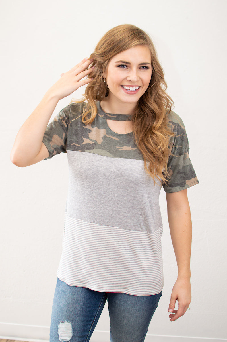 Camo Key Hole Tee - MOB Fashion Boutique