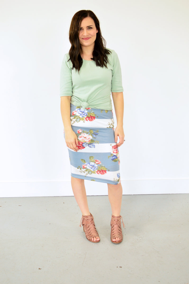 Lilly Floral Pencil Skirt | Mint - MOB Fashion Boutique