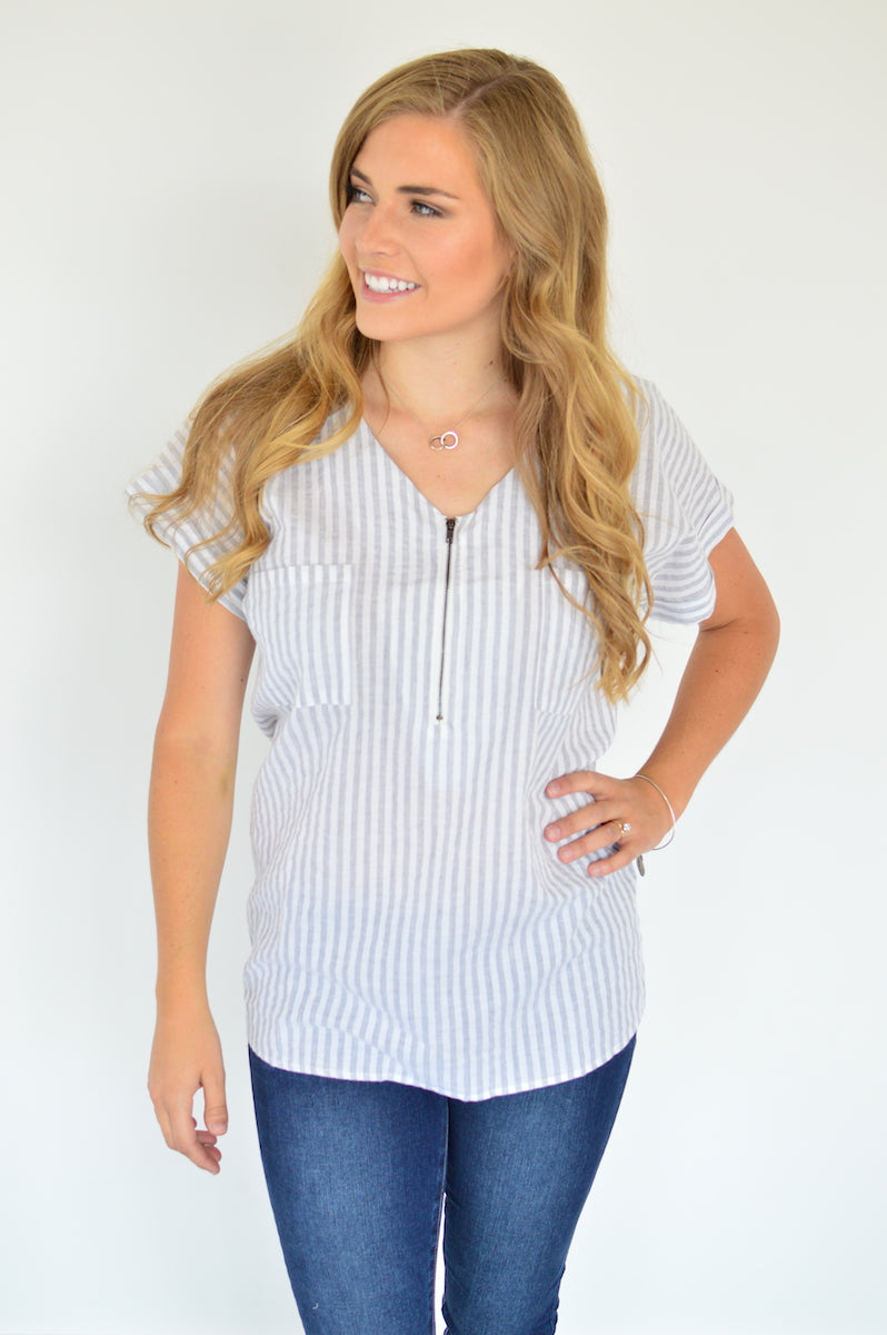 Classic Zipper Tee | Grey Stripes - MOB Fashion Boutique