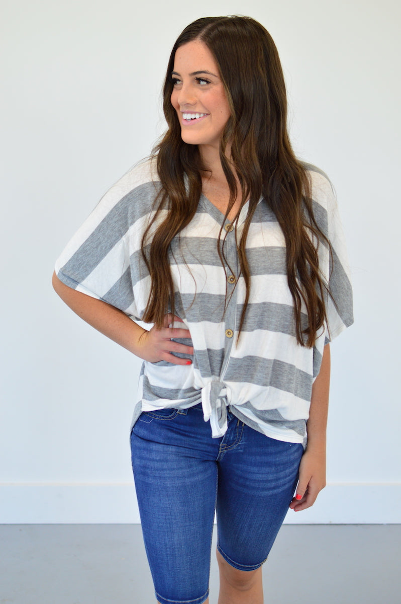 Button Down Front Knot Top | Grey Stripes - MOB Fashion Boutique