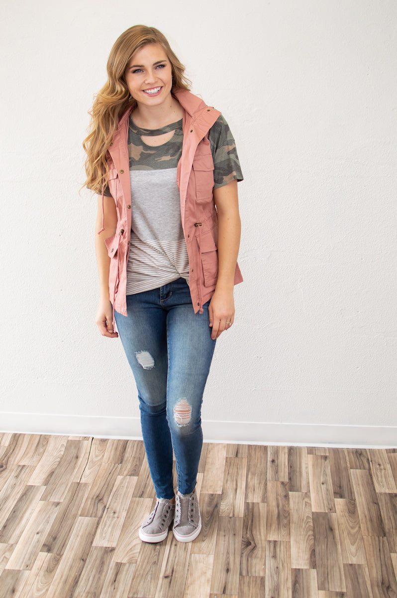 Spring Cargo Vest | Blush - MOB Fashion Boutique