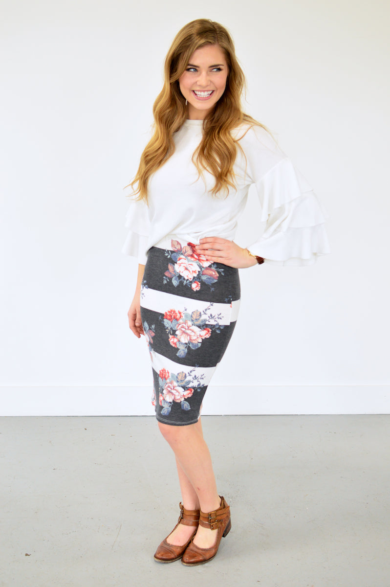 Lilly Floral Pencil Skirt | Distressed Black - MOB Fashion Boutique