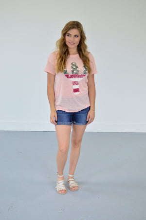 American Cactus Tee | Blush - MOB Fashion Boutique