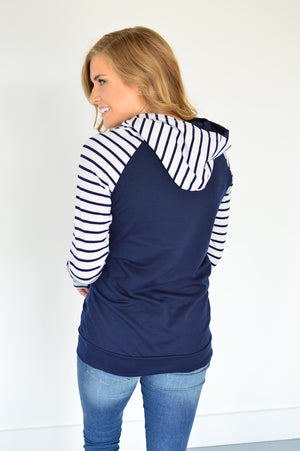 Navy Striped Raglan Hoodie with Nursing Option! - MOB Fashion Boutique