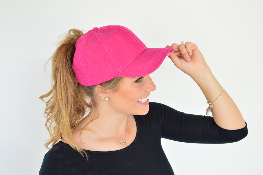 C.C. Pony Tail Cap | Hot Pink - MOB Fashion Boutique