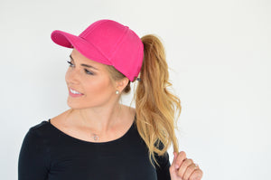 C.C. Pony Tail Cap | Bright Pink - MOB Fashion Boutique