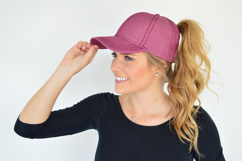 C.C. Pony Tail Cap | Magenta - MOB Fashion Boutique