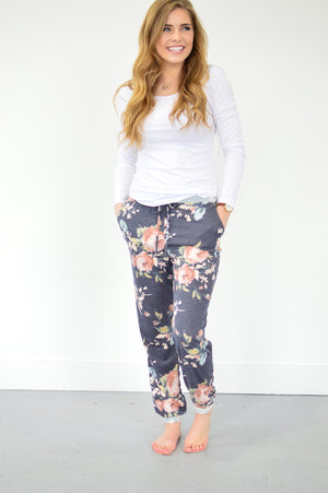 Floral Joggers | Navy - MOB Fashion Boutique