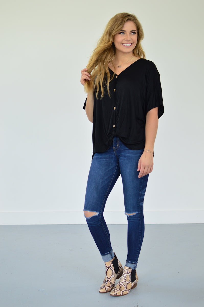 Button Down Front Knot Top | Black - MOB Fashion Boutique