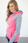 Passion Pink Colorblock Hoodie with Nursing Option! - MOB Fashion Boutique