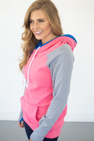 Passion Pink Colorblock Hoodie with Nursing Option! [Preorder] - MOB Fashion Boutique