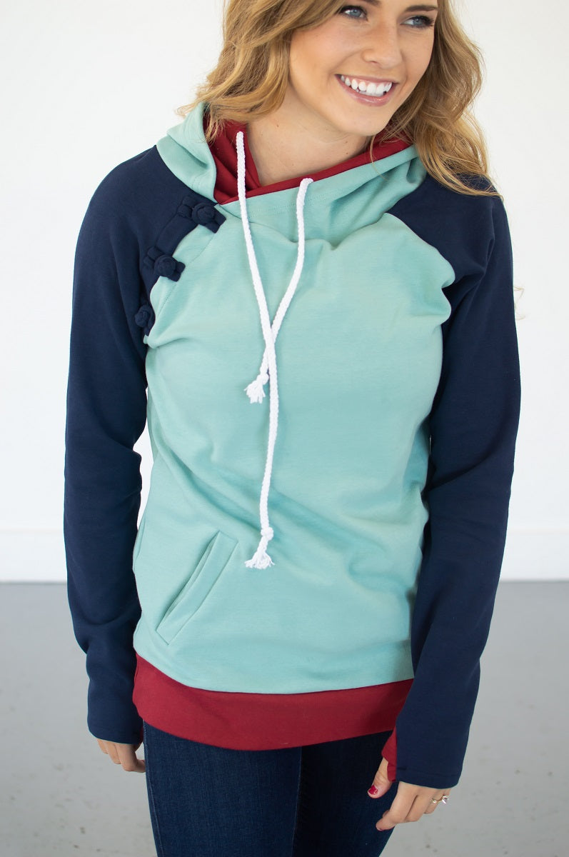 Seafoam Color Block Hoodie with Nursing Option! [Pre-order] - MOB Fashion Boutique