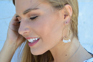 White Stone Oval Earrings - MOB Fashion Boutique