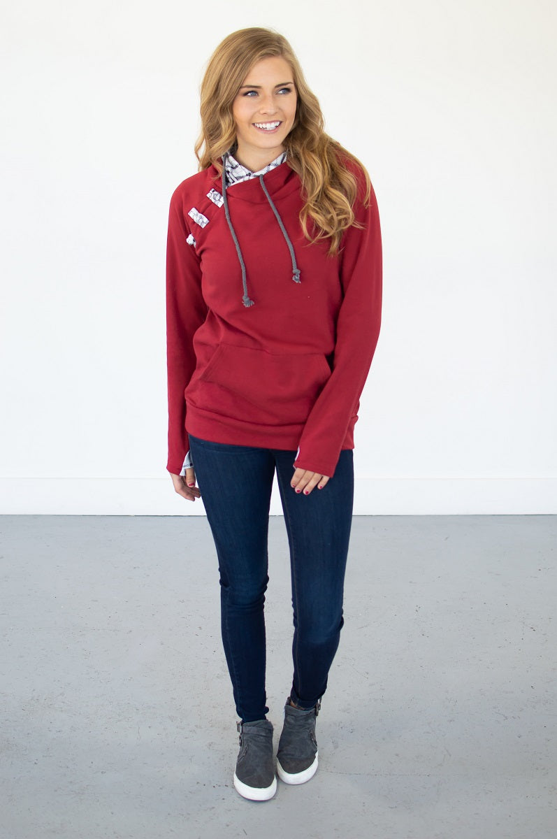 Cranberry Plaid Hoodie with Nursing Option! [Pre-order] - MOB Fashion Boutique