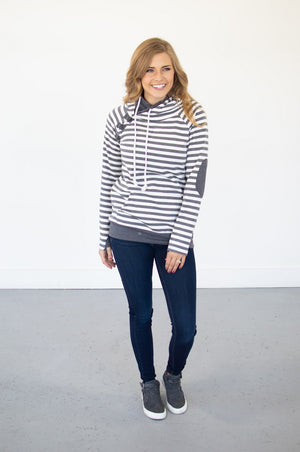Charcoal Striped Hoodie with Nursing Option! - MOB Fashion Boutique