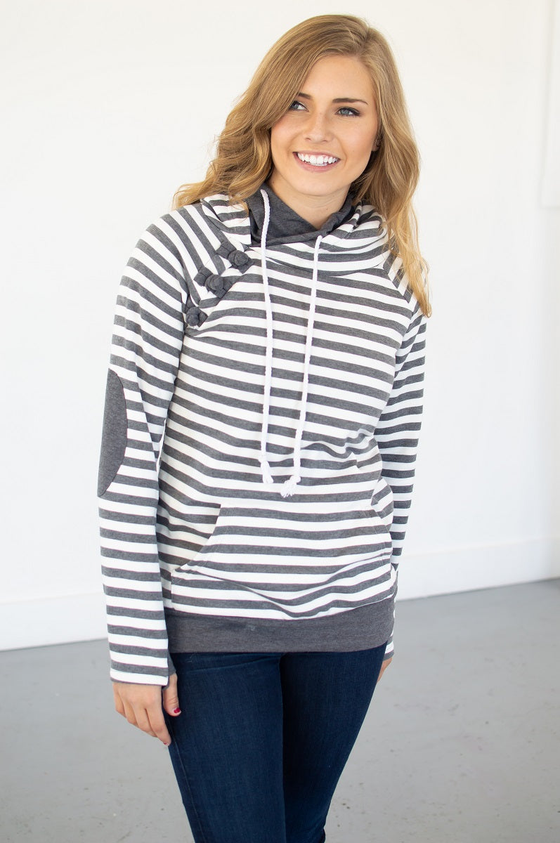 Charcoal Striped Hoodie with Nursing Option! [Pre-order] - MOB Fashion Boutique