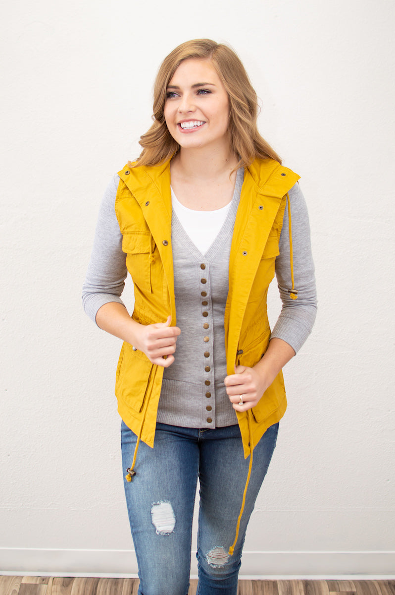 Spring Cargo Vest | Mustard - MOB Fashion Boutique