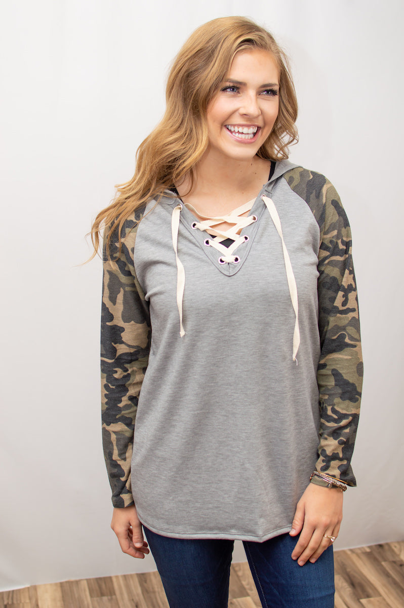 Lace Up Camo Raglan - MOB Fashion Boutique