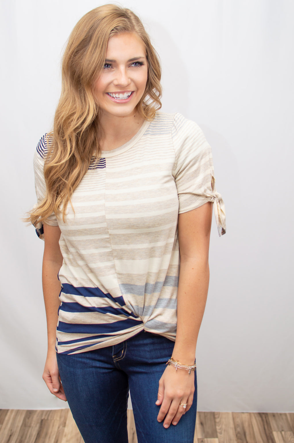 Striped Bow Sleeve Tee - MOB Fashion Boutique