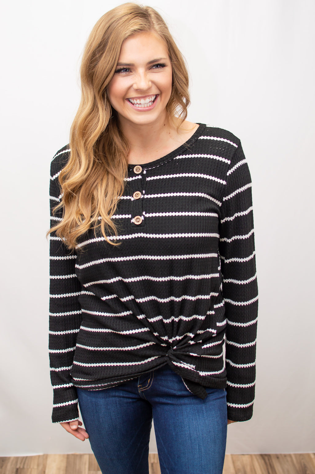 Henley Top | Black Stripes - MOB Fashion Boutique