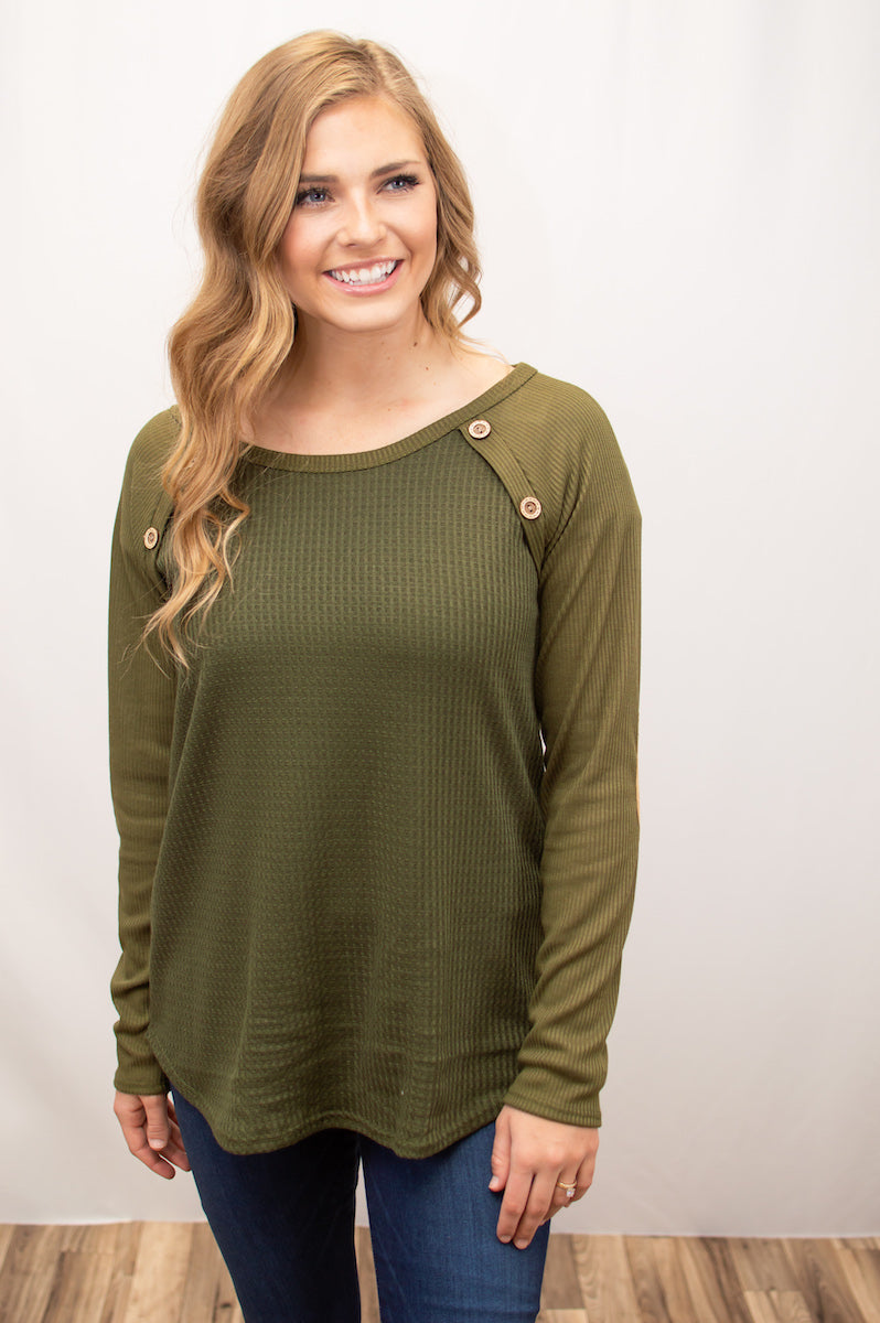 Waffle Knit Button Raglan | Olive - MOB Fashion Boutique