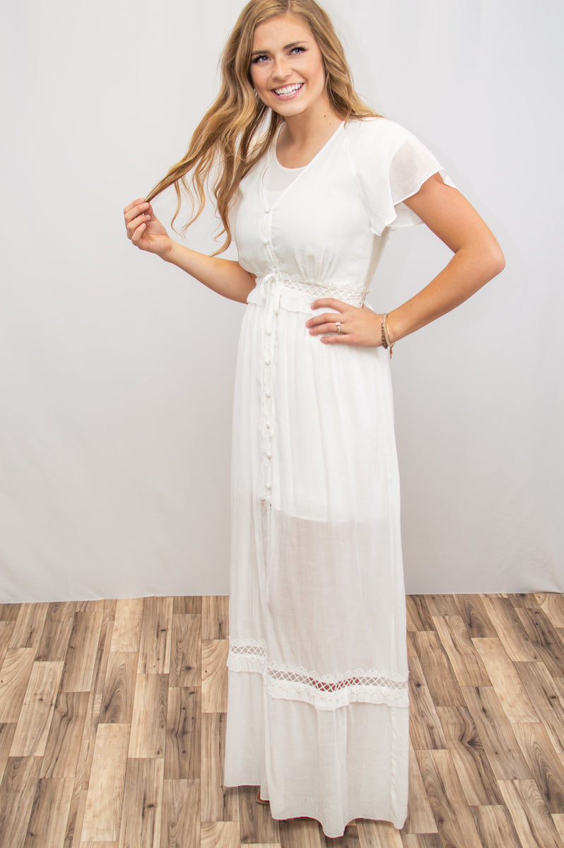Sandy Beaches Ivory Lace Dress - MOB Fashion Boutique