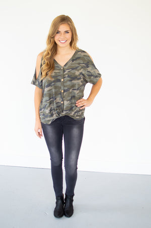 Button Down Camo Tee - MOB Fashion Boutique