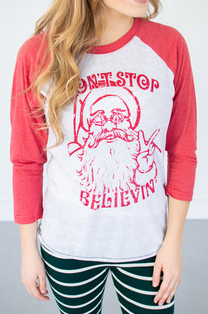 Don't Stop Believin' Raglan Tee - MOB Fashion Boutique