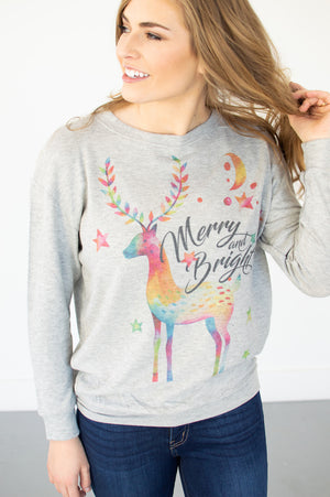 Rainbow Reindeer Pullover - MOB Fashion Boutique