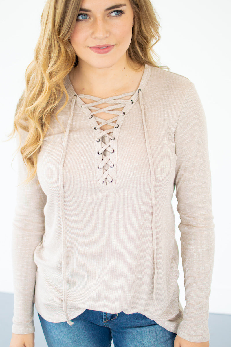 Ribbed Lace Up Top | Taupe - MOB Fashion Boutique