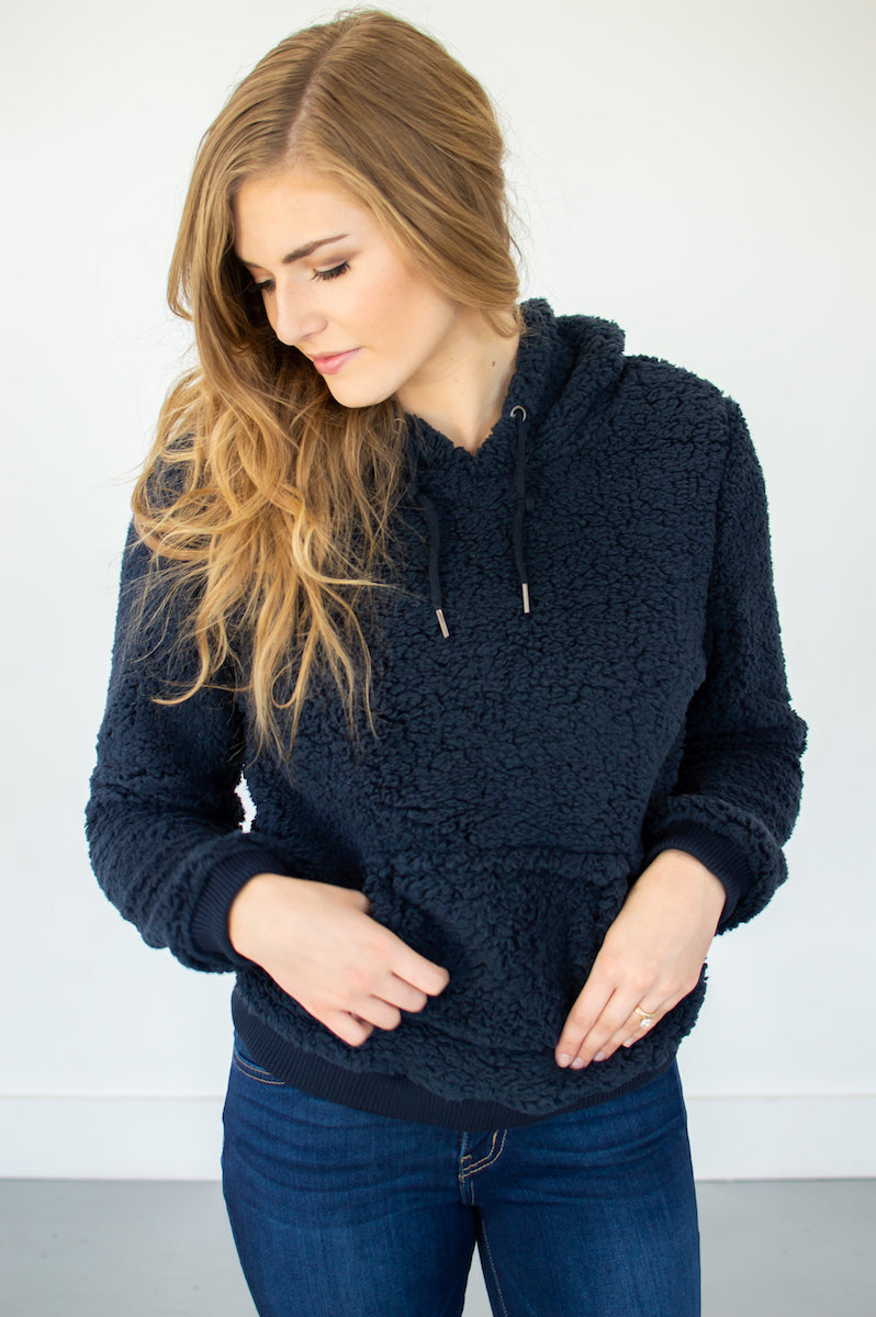 Sherpa Pullover Hoodie |Navy - MOB Fashion Boutique