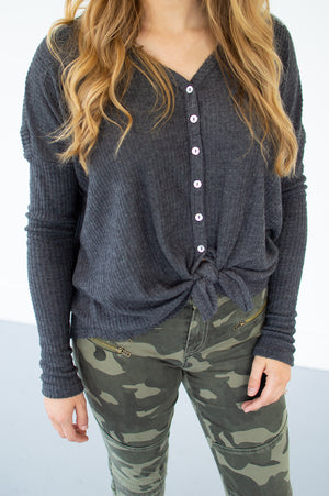 Waffle Knit Button Down Top | Charcoal - MOB Fashion Boutique