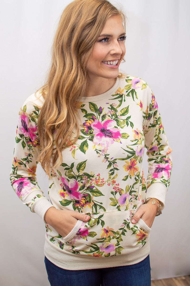 Floral Pullover Sweatshirt | Ivory - MOB Fashion Boutique