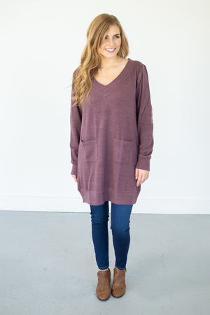 V-Neck Pocketed Tunic | Faded Plum - MOB Fashion Boutique