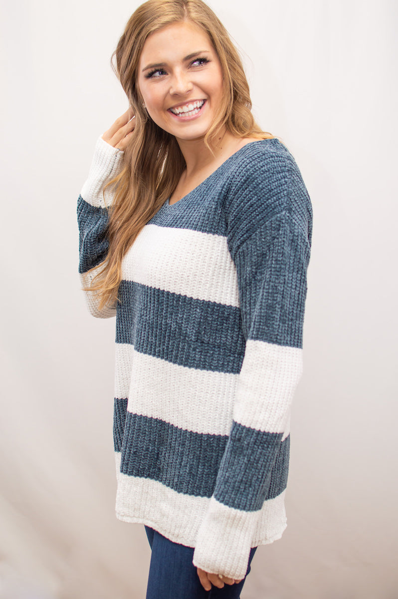 Bold Stripes V-Neck Sweater - MOB Fashion Boutique