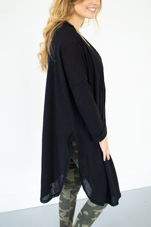 Waffle Knit Duster | Black - MOB Fashion Boutique