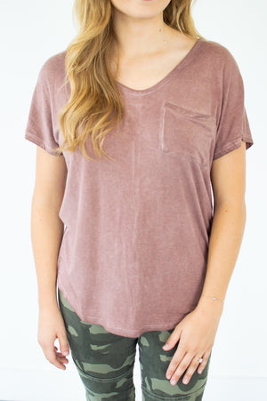 Washed Mauve Tee - MOB Fashion Boutique
